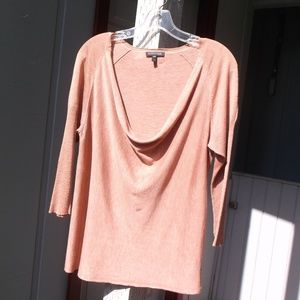 Eileen Fisher Rusty color LOW drape front sweater